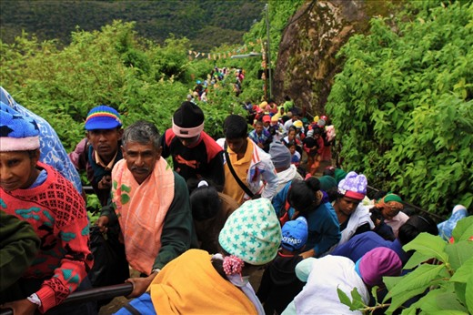 Pilgrims making the climb up Adam's Peak. Cr to journals.worldnomads.com