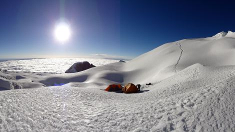 Our camp at 5615m on Mount Ancohuma, Bolivia, 6400m, 2013